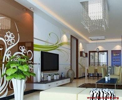 花纹与白色石膏板搭配而成的电视背景墙装修效果图