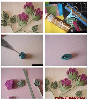 立体纸艺diy:卷纸花的做法