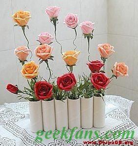 纸筒废物利用做花盆