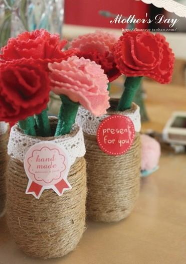 塑料瓶,矿泉水瓶改创意花瓶及可爱的康乃馨布花diy教程